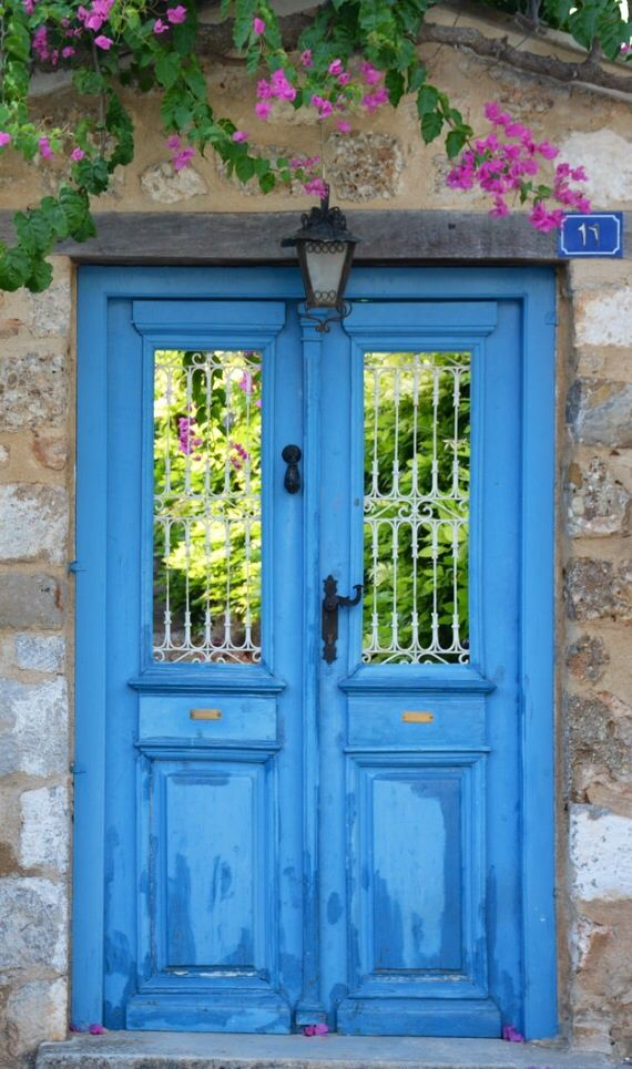 Would be a gorgeous garden door.  Spetses, Greece door