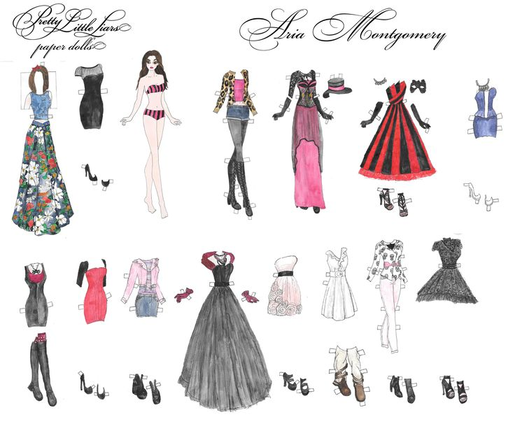 Pretty little liars  hand drawn watercolor Aria Montgomery printable paper doll by RobertaTomei on Etsy