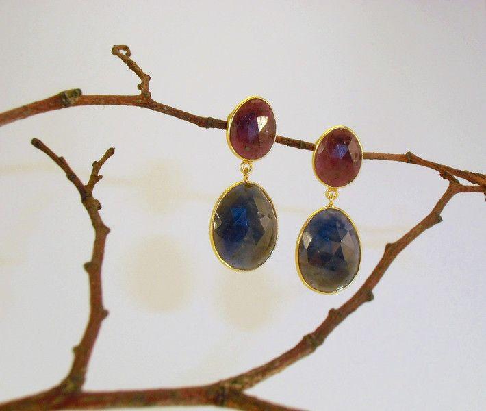 Ohrringe - Ohrringe 925 Silber Rubin Saphir Handarbeit - ein Designerstück von Goldschmiede-Ritter bei DaWanda