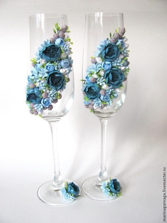 Купить Свадебные бокалы Бирюзовый цвет - свадебные бокалы, цветы из полимерной глины