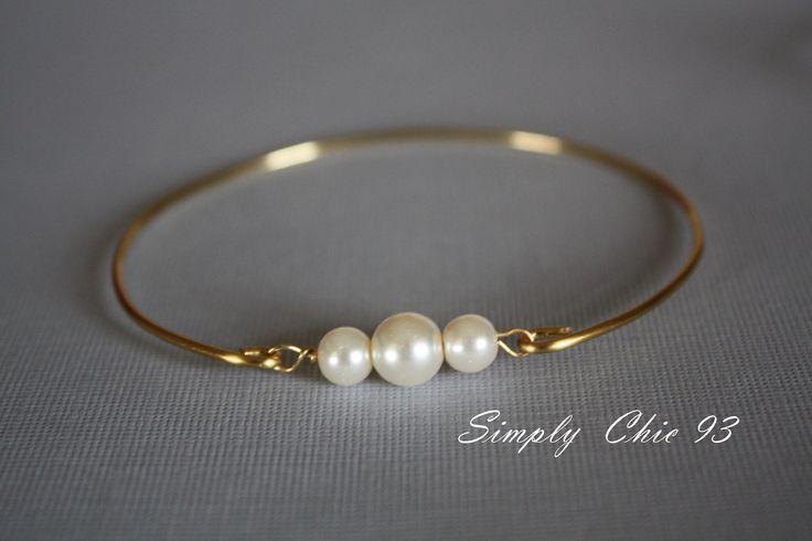 Gold Bangle, Gold Bracelet, Pearl Bangle,Pearl Bracelet, Three pearls, Gold Bangle, Bridal bracelet, Bridesmaid,valentine gifts,. $14.00, via Etsy.