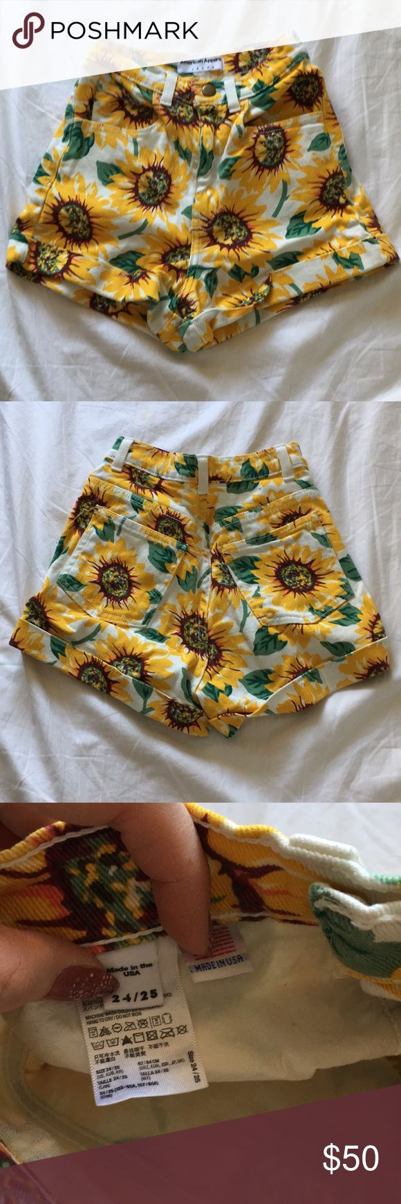 DEADSTOCK American apparel sunflower shorts High waisted sunflower shorts size 24/25. Worn once American Apparel Shorts Jean Shorts