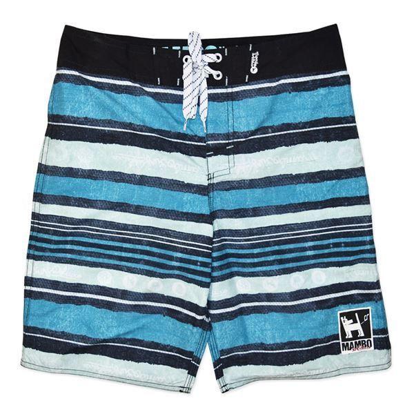 MAMBO Board Shorts Sz 8 10 12 14 Boy Blue Navy Stripe Print Boardies Surf -