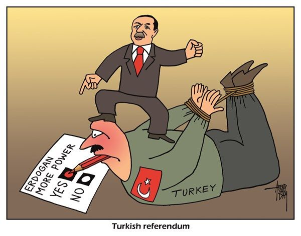 4/6/17 Arend Van Dam - political cartoons.com - Erdogan referendum - English - Erdogan, Turkey, dictator, referendum, Turkish, more power