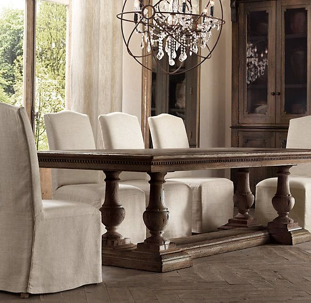 "St. James Rectangle Dining Tables 84"" Table: 84""L x 42""W x 30""H; extends to 120""L with two 18"" leaves $2495"