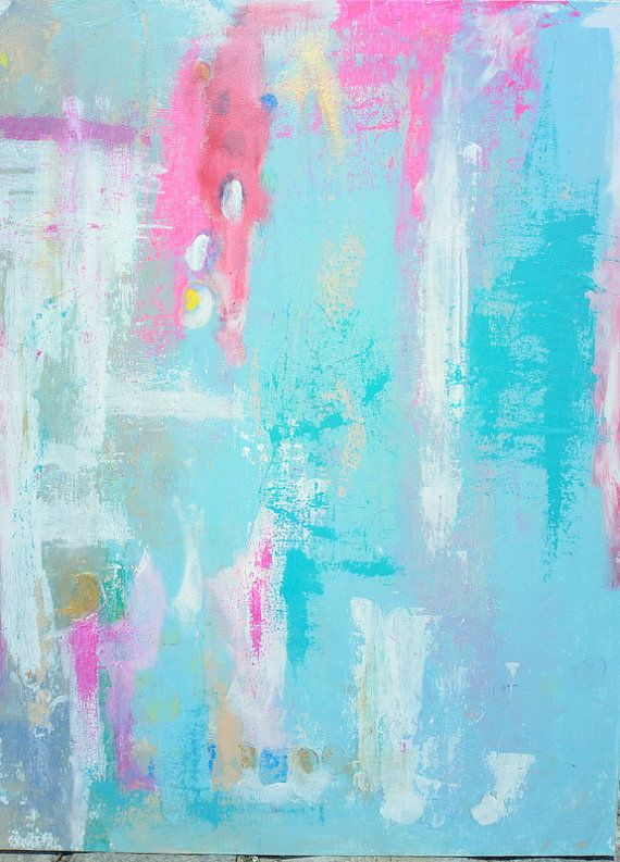 abstract acrylic painting pinkgreybluegold by FELICISSIMO on Etsy, $49.00