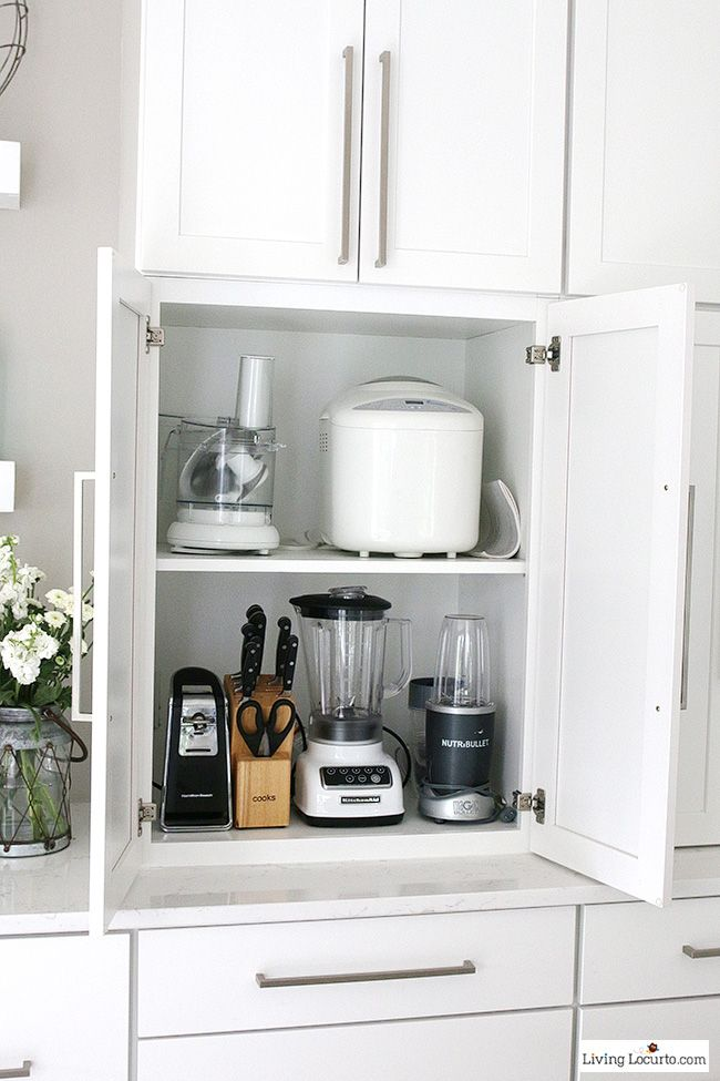 Best 25 kitchen appliance storage ideas on pinterest for Ideas for things to put on top of kitchen cabinets