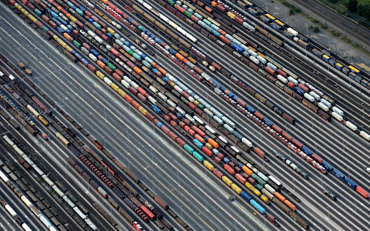 Freight trains are readied at the railroad shunting yard in Maschen, Germany on September 23, 2012