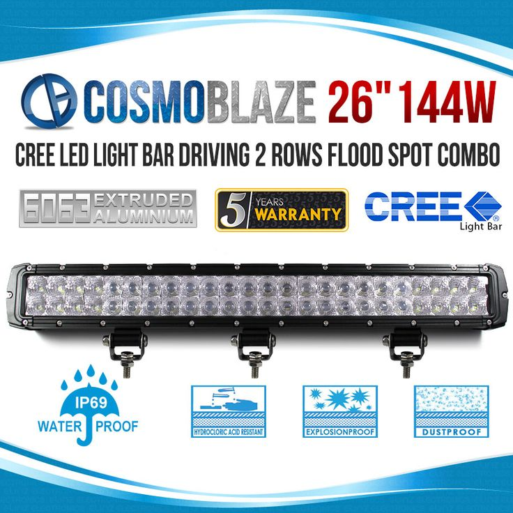 Cosmoblaze 26 inches 144W CREE LED Light Bar Driving WORK FLOOD SPOT COMBO 4WD 6063 AL