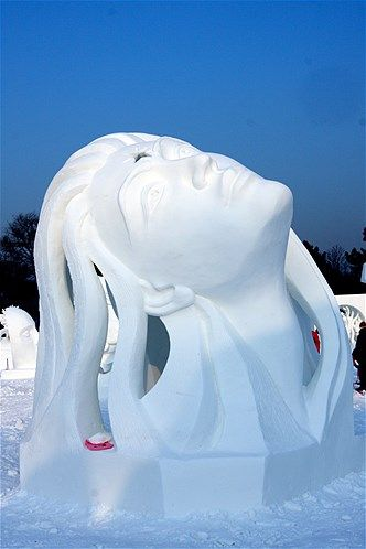 A snow sculpture at the annual snow and ice sculpture competition in Harbin, China