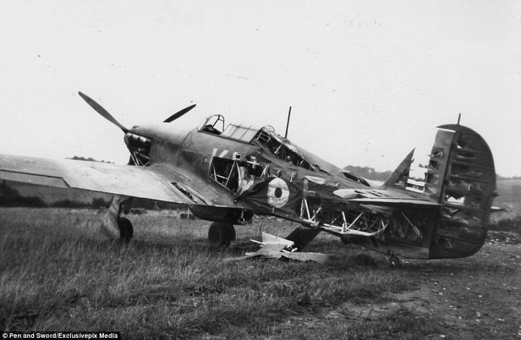 Pictured: A Hurricane badly damaged by bomb blast at RAF Kenley, in Surrey, following an a...