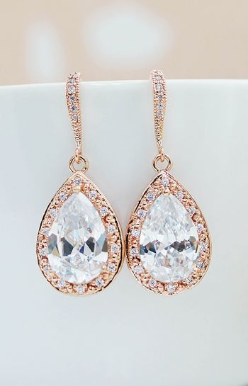 Lux halo style Rose Gold Cubic Zirconia Bridal Earrings from EarringsNation Rose gold weddings