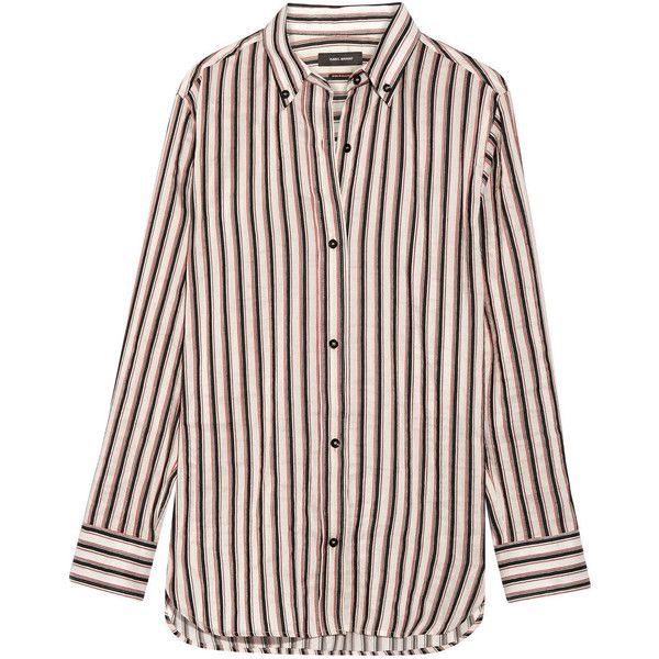 Isabel Marant Striped ramie and silk-blend shirt (£250) ❤ liked on Polyvore featuring tops, shirts, majice, colorful striped shirt, layered tops, layering shirts, stripe shirt and white shirts