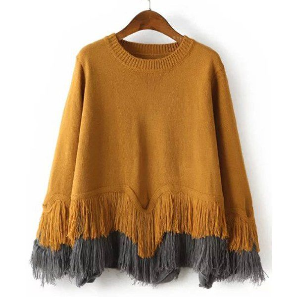 Wholesale Stylish Jewel Neck Long Sleeve Layered Fringed Sweater For Women Only $11.61 Drop Shipping | TrendsGal.com