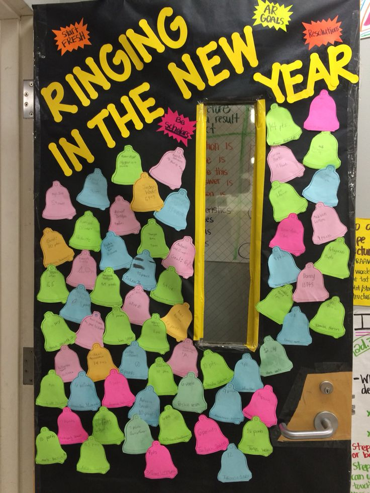 Classroom door decoration- New Years resolutions with name ...