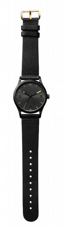 Triwa - Sort of Black - Svart klocka med läderarmband och visare med guld
