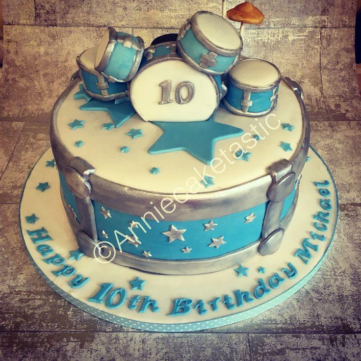 Drum birthday cake with mini drum kit