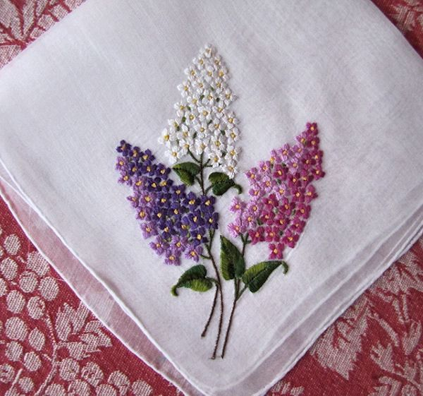 Embroidered Hankie, Linen Handkerchief, Vintage Handkerchief, Pink, Blue,  Hankerchief, Provenance