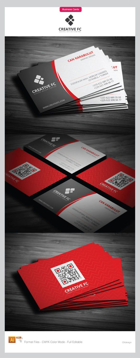 81 best 80 stunning qr code business cards images on pinterest double sided corporate business cards front side of the card is elegant divided into two parts on white and gray layout while back side is with strong red reheart Images