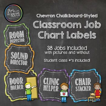 "Chevron Chalkboard Style Classroom Jobs Chart Included in this set are 38 job titles both with clipart images and without (3.5""x3.5""). Also included are 36 2""x2"" number labels to correspond with your student's classroom number and a ""Classroom Jobs"" header. *This package contains the job"