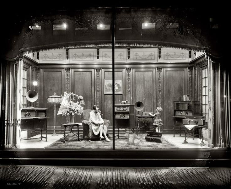 Department store window display of Atwater Kent radio equipment circa 1928 in Washington, D.C.  Amazing!