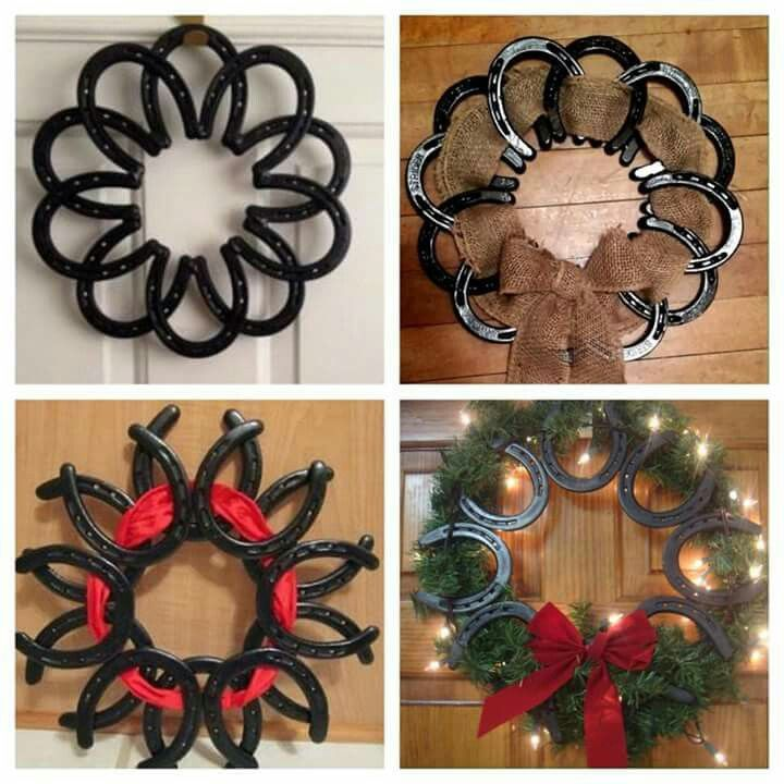 Rustic horseshoe wreath country welding project