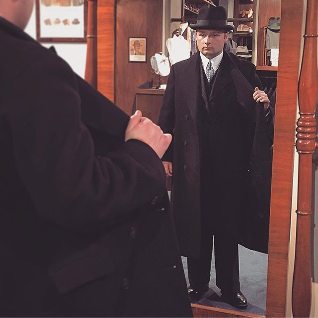 Hr. Johansson inspecting his 1920's Scanian overcoat. 1930's three piece suit and A. Marchesan MTM shirt from the store. The hat is a British 1940's homburg. #mensfashion #menswear #vintage #mensvintage #amarchesanshirts #1920s #1930s #1940s #homburghat #vintageovercoat #vintagemenssuit #3piecesuit #dapper #dandy #welldressed