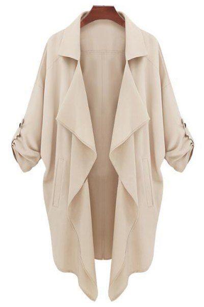 Solid Color Lapel Collar Pockets Trench Coat KHAKI: Jackets & Coats | ZAFUL
