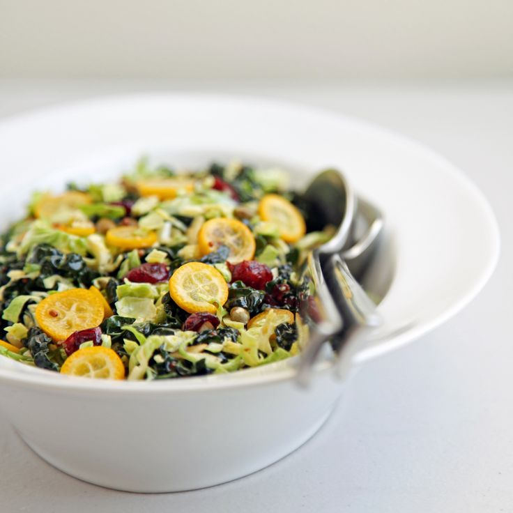 Shredded Brussels Sprouts, Kale, and Kumquat Salad. You can replace the kumquats with oranges or other citrus