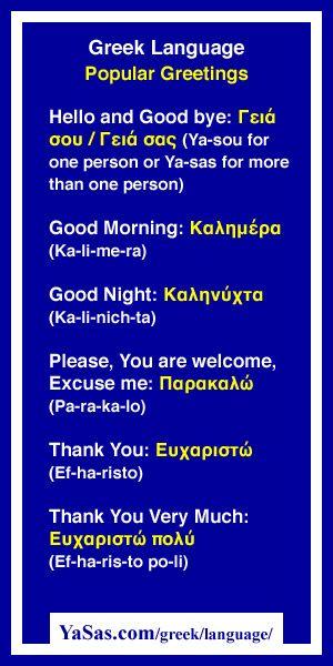 Frases comunes básicas en inglés y en griego.