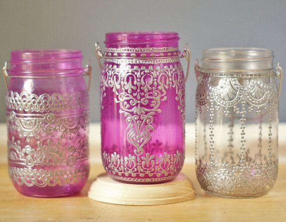 Mason Jar Lantern Moroccan Inspired Magenta Glass with by LITdecor