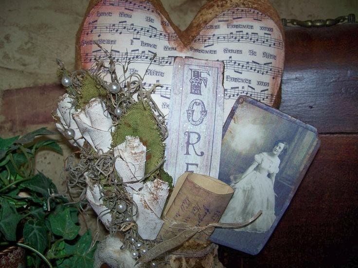 Primitive Valentine Heart Keepsake  PAFA by CtrysideCottage, $36.95