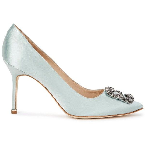 Manolo Blahnik Hangisi 90 Pale Blue Satin Pumps - Size 6.5 ($970) ❤ liked on Polyvore featuring shoes, pumps, high heeled footwear, slip on shoes, pointed toe shoes, pointed toe high heel pumps and manolo blahnik