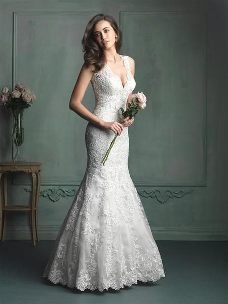 Allure 9104 This lace gown features contour straps and gorgeous Swarovski crystal beading at the neckline. Other Available Colors: White/Silver, Ivory/Silver, Café/Ivory/Silver ***PRICING FOR SAMPLE S