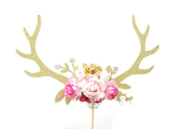 Gold Glitter & Pink Floral Antler Cake Topper - Wedding cake topper, antler cake topper, boho cake topper, boho party, floral antlers by Pelemele on Etsy https://www.etsy.com/listing/293887131/gold-glitter-pink-floral-antler-cake