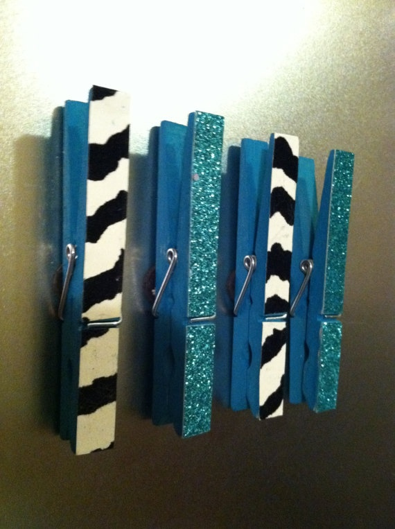 Clothes Pin Magnets  Zebra Print and Blue by TheGreatCraftsby, $4.99