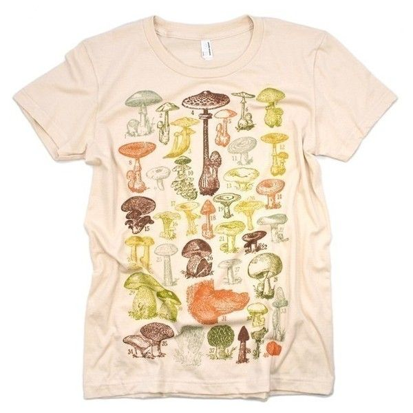 Mushrooms Of the World Tshirt Women's Creme Graphic Tee Shirt ($16.99) ❤  liked on