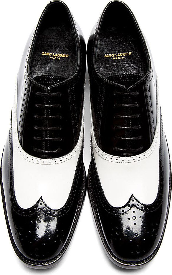 Saint Laurent - Black & White Leather University Richelieu Spectator Shoes.
