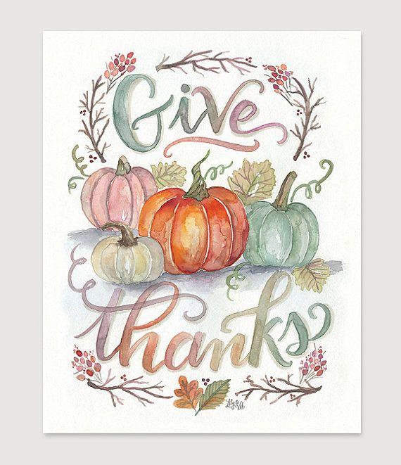 Donner+Merci+Print++Thanksgiving+Decor++automne+Art++par+LilyandVal