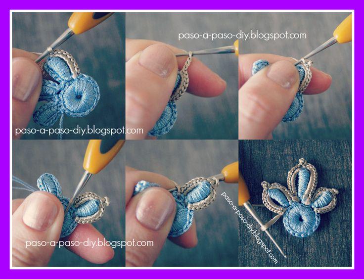 Flor de Tres Pétalos al Crochet - Paso 7