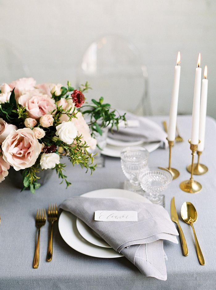 Blue and Blush Wedding Reception Decor with Gold and Crystal