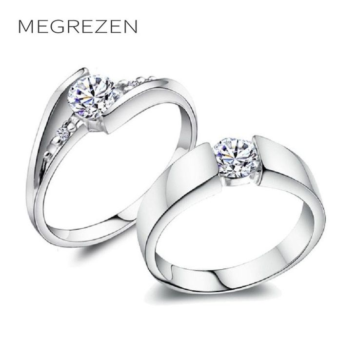 Charm Rhinestone Engagement Rings Couple Anillos Bohemia Silver Plated Wedding Ring Set Trouwringen Voor Mannen En Vrouwen 2017 #Affiliate