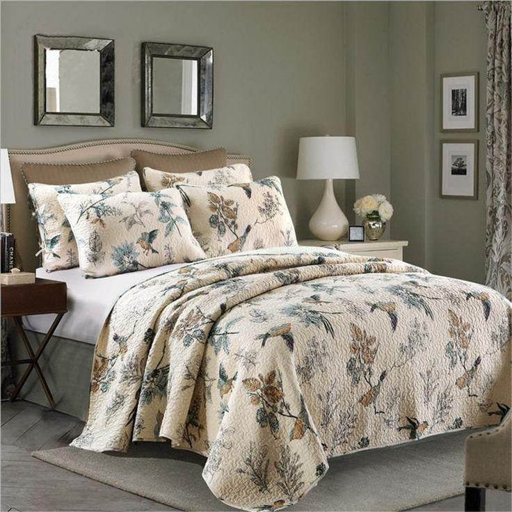 Flying Birds Printing 3 Piece Cotton Bedspread/Quilt Set