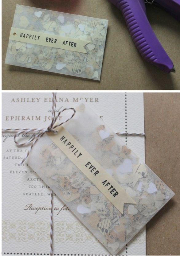 Wedding confetti given with invite, sweet idea