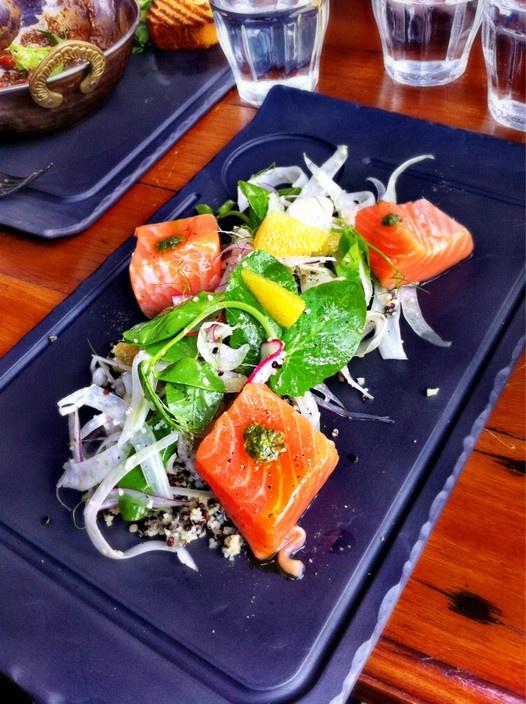 Salmon & quinoa salad at Single Origin Roasters in Surry Hills, NSW