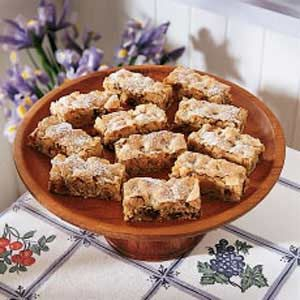 Date Nut Bars Recipe- Recipes  I've had this recipe since 1938, when the girls I worked with game me a bridal shower. One of their presents was a recipe box filled with their favorites. Inside, I found this recipe, and I've used it for just about every occasion since. They're always well received.