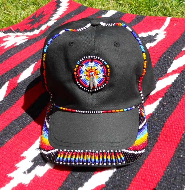 Bead embroidered baseball cap