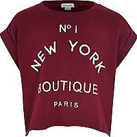 Girls dark red boutique print t-shirt