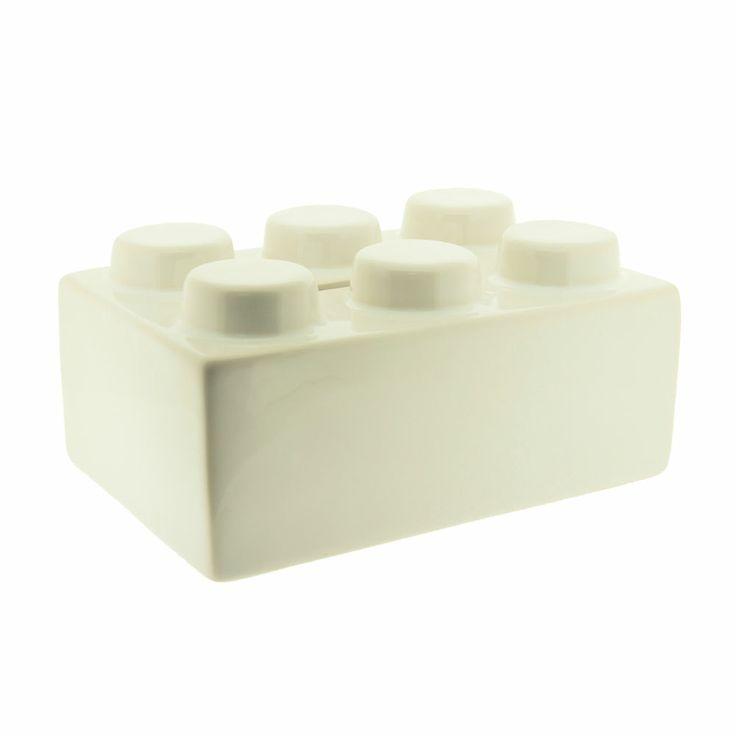 WHITE CERAMIC BUILDING BLOCK MONEY BOX LEGO BRICK STYLE 99p START