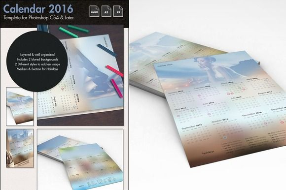 Calendar 2016 Template by Spyros Thalassinos on Creative Market